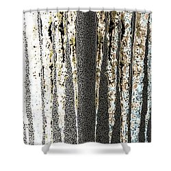 Shower Curtain featuring the digital art Abstract Icicles by Will Borden