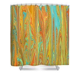 Abstract In Copper, Orange, Blue, And Gold Shower Curtain by Jessica Wright