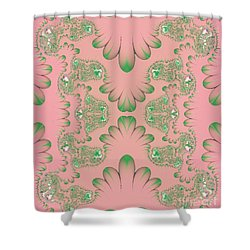 Shower Curtain featuring the digital art Abstract In Pink And Green by Linda Phelps