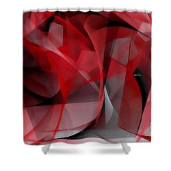 Shower Curtain featuring the digital art Abstract In Red Black And White by Rafael Salazar