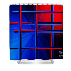 Abstract In Red/blue 3 Shower Curtain