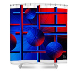 Abstract In Red/blue Shower Curtain