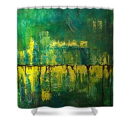 Shower Curtain featuring the painting Abstract In Yellow And Green by Jocelyn Friis