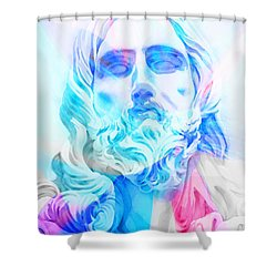Shower Curtain featuring the painting Abstract Jesus 3 by J- J- Espinoza