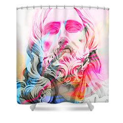 Shower Curtain featuring the painting Abstract Jesus 4 by J- J- Espinoza