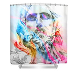 Shower Curtain featuring the painting Abstract Jesus 5 by J- J- Espinoza
