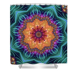 Shower Curtain featuring the digital art Abstract Kaleidoscope Art With Wonderful Colors by Matthias Hauser