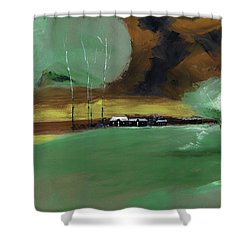 Shower Curtain featuring the painting Abstract Landscape by Anil Nene