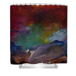 Abstract Landscape Red Bold Color Vertical Painting Shower Curtain by Gray Artus