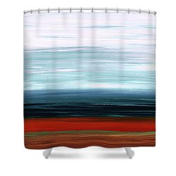 Shower Curtain featuring the painting Abstract Landscape - Ruby Lake - Sharon Cummings by Sharon Cummings