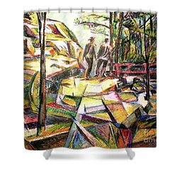 Abstract Landscape With People Shower Curtain by Stan Esson