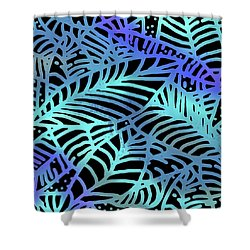 Abstract Leaves Black Aqua Shower Curtain