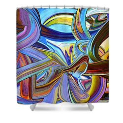 Abstract Line 55 Shower Curtain