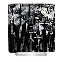 Abstract Matrix Shower Curtain by Michal Boubin