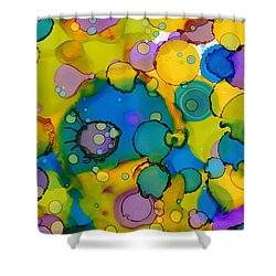 Shower Curtain featuring the painting Abstract Microscope Party by Nikki Marie Smith