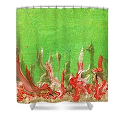 Abstract Mirage Cityscape In Green Shower Curtain