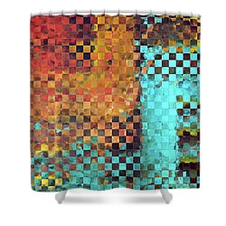 Shower Curtain featuring the painting Abstract Modern Art - Pieces 1 - Sharon Cummings by Sharon Cummings