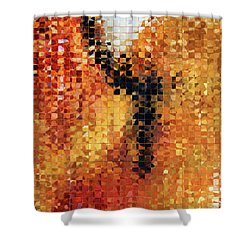 Shower Curtain featuring the painting Abstract Modern Art - Pieces 8 - Sharon Cummings by Sharon Cummings