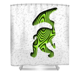 Abstract Monster Cut-out Series - Green Stroll Shower Curtain