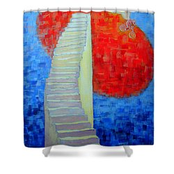 Abstract Moon Shower Curtain by Ana Maria Edulescu