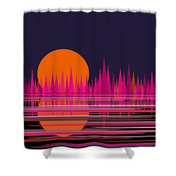 Abstract Moon Rise In Pink Shower Curtain by Val Arie