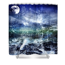 Abstract Moonlit Seascape Painting 36a Shower Curtain