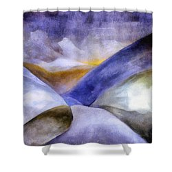 Abstract Mountain Landscape Shower Curtain by Michelle Calkins