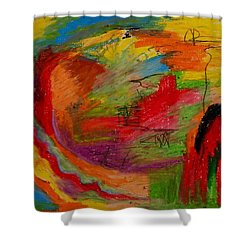 Shower Curtain featuring the drawing Abstract No. 3 Inner Landscape by Maria  Disley