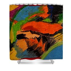 Shower Curtain featuring the drawing Abstract No. 4 Inner Landscape by Maria  Disley
