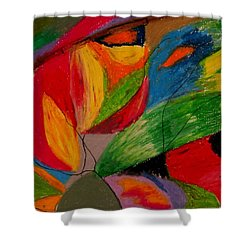 Shower Curtain featuring the drawing Abstract No. 5 Springtime by Maria  Disley