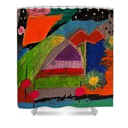 Shower Curtain featuring the drawing Abstract No. 7 Inner Landscape by Maria  Disley
