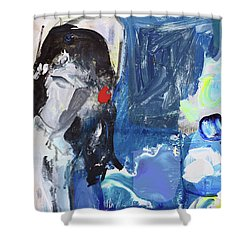 Abstract Nude And Flowers Shower Curtain by Amara Dacer