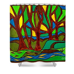 Abstract Of The Otter Pool Shower Curtain