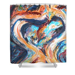 Abstract Of Womb Shower Curtain by Esther Newman-Cohen