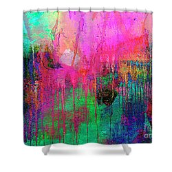 Abstract Painting 621 Pink Green Orange Blue Shower Curtain