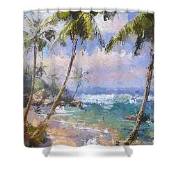 Abstract Palm Beach Path Shower Curtain by Anthony Fishburne