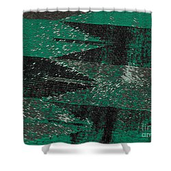Shower Curtain featuring the mixed media Abstract Pattern No.11 Green And Black by Lita Kelley