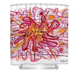 Abstract Pen Drawing Fifteen Shower Curtain by Lynne Taetzsch