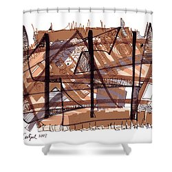 Abstract Pen Drawing Twelve Shower Curtain