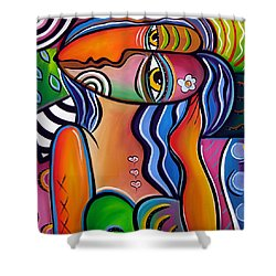 Abstract Pop Art Original Painting Shabby Chic Shower Curtain