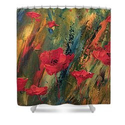 Shower Curtain featuring the painting Abstract Poppies by Kristine Bogdanovich