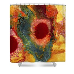 Abstract Red Flower Garden Panoramic Shower Curtain
