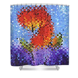 Shower Curtain featuring the painting Abstract Red Flowers - Pieces 5 - Sharon Cummings by Sharon Cummings