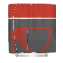 Abstract Red Shower Curtain by Naxart Studio