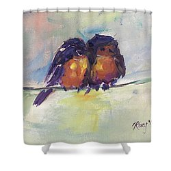 Abstract Robins On A Wire Shower Curtain