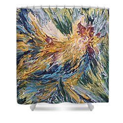 Abstract Guam Rooster Shower Curtain