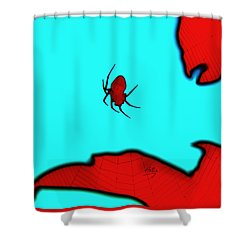 Abstract Spider Shower Curtain by Linda Hollis