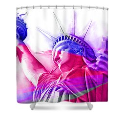 Shower Curtain featuring the painting Abstract Statue Of Liberty 7 by J- J- Espinoza