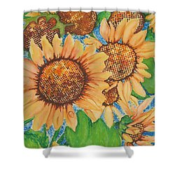 Shower Curtain featuring the painting Abstract Sunflowers by Chrisann Ellis