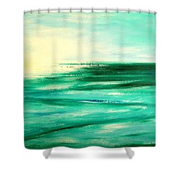 Abstract Sunset In Blue And Green Shower Curtain by Gina De Gorna